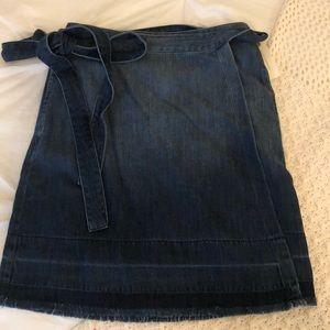 Anthropologie Denim Wrap Around Skirt